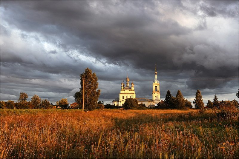 лето, июль, вечер, облака, храм, небо, Подгоняемые ветром.photo preview