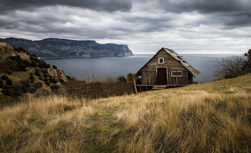 Крым, пейзаж, море, облака, небо, берег, горы, трава, осень, тучи,  Последняя осень...photo preview