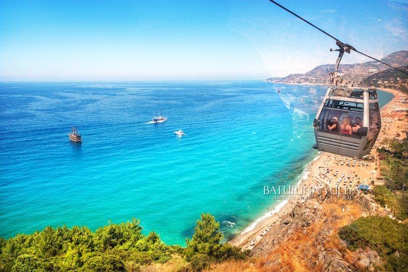 турция, алания, пляж клеопатры Море и пляжphoto preview
