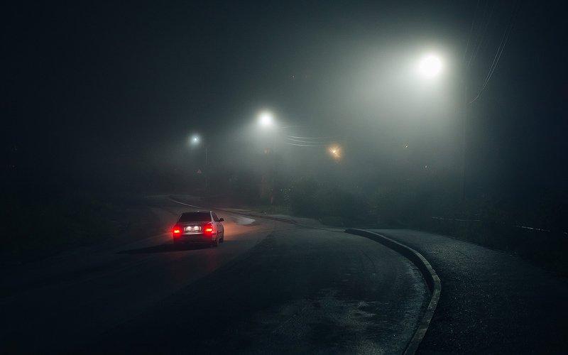 туман, вечер, дорога, автомобиль Туманный вечерphoto preview