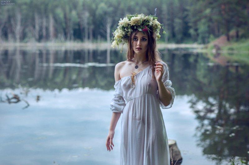 ведьма, мавка, иван купала, озеро, купальщица, утопленница, русалка, венок, болото, мокрая девушка, мокрая, мокрое платье Из серии \