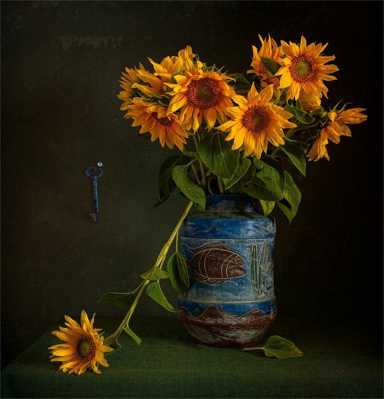 still life, натюрморт,    винтаж,    цветы,  подсолнух, лепесток, букет, ваза, ключ, свет, тень, натюрморт с подсолнухамиphoto preview
