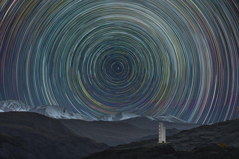 ночь, млечный путь, звёздные треки, горы photo preview
