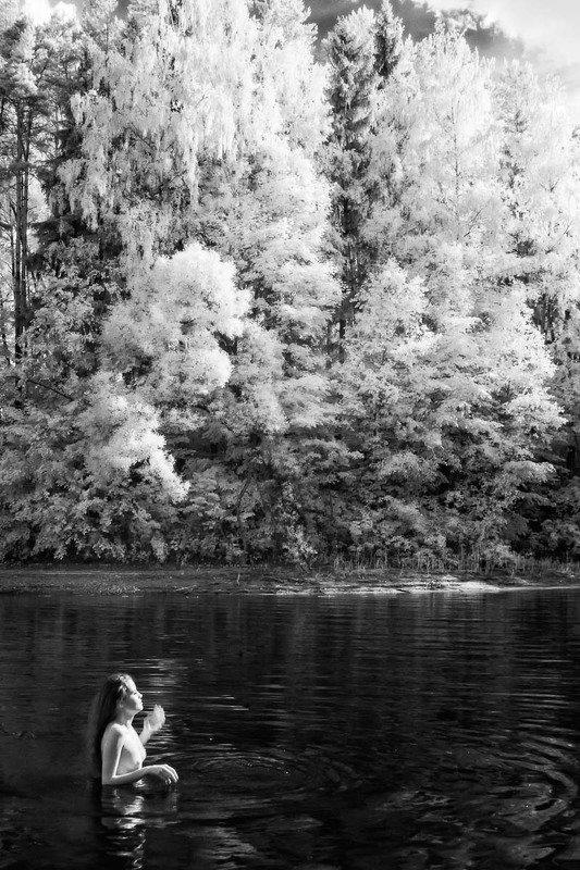 озеро, девушка, ню, ir, инфракрасная фотография Озероphoto preview