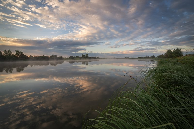 утро, туман, озеро, облака, отражения. Отражения.photo preview