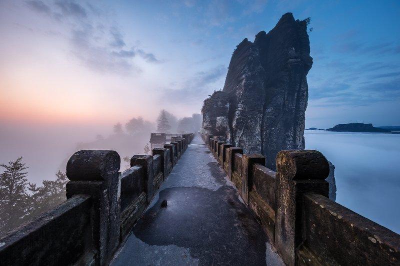 light, fog, mist, rocks, bridge, saxony, germany, saxon switzerland, twilight, sunrise, mood, blue hour Prehistoric Shipphoto preview