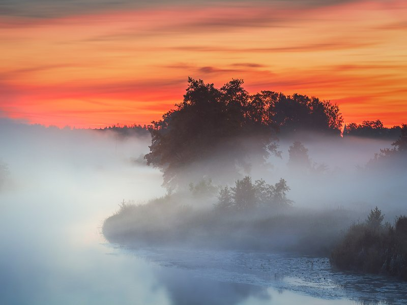 sunrize,fog,river,Gwda,nature,light,clouds,landscape,sky,Nikon,trees,summer,dawn,mist, Sunrise on the river Gwdaphoto preview