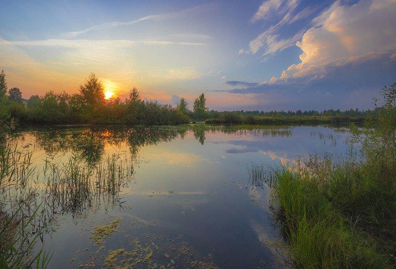 пейзаж,лето,река,костромская область,вечер,закат Августphoto preview