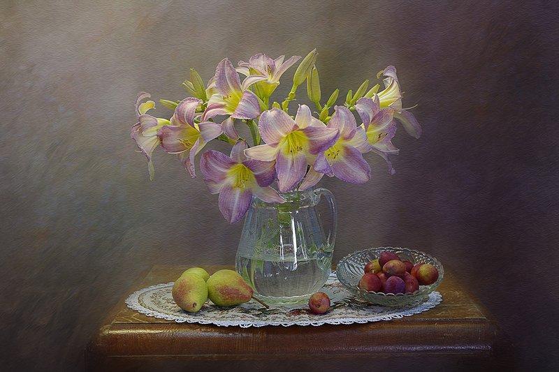 натюрморт,цветы,ваза,лилейник,розовый,в.павлухина, С лилейникамиphoto preview