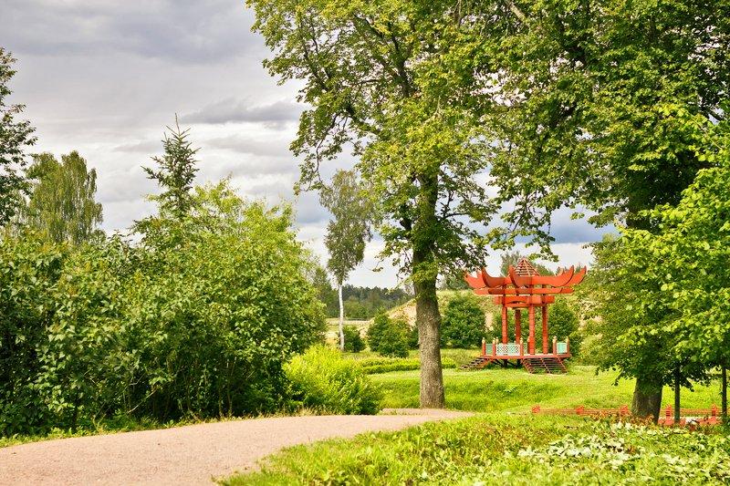 пейзаж марьино усадьба парк лето солнечный пейзаж с беседкойphoto preview