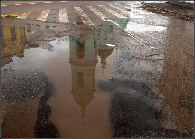весна, отражение, лужа, церковь Жизнь в отражениях_2photo preview