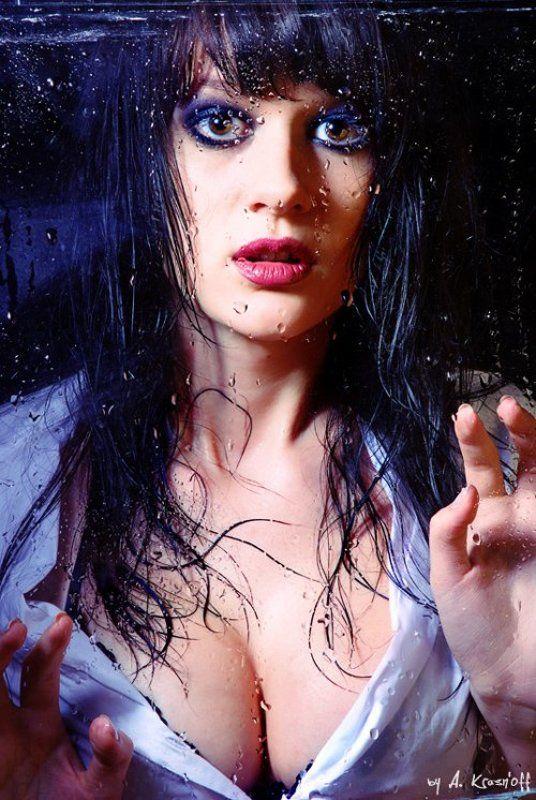 девушка, глаза, капли, дождь, стекло Дождь....photo preview