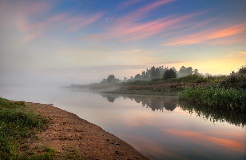 лето, рассвет, река, туман, Про туман над рекойphoto preview
