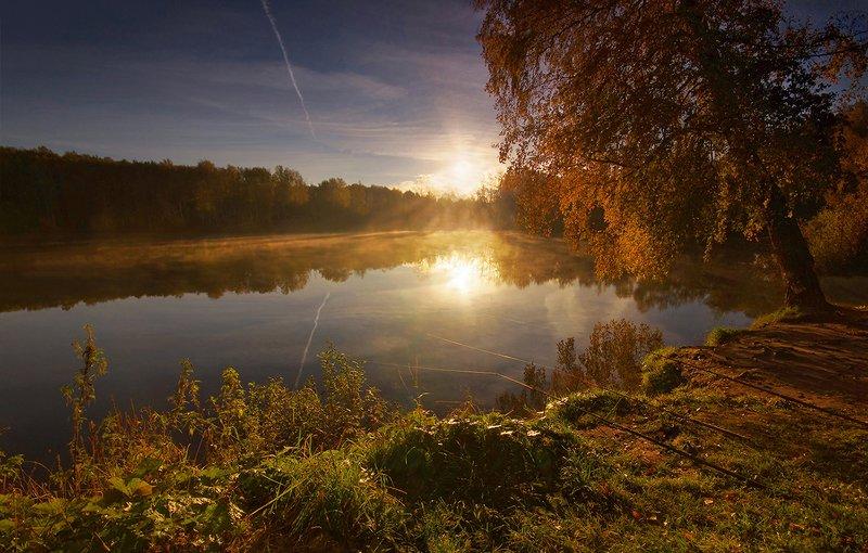 осень, пруд, свет, удочки, вода, солнце, утро, рассвет Скоро осеньphoto preview