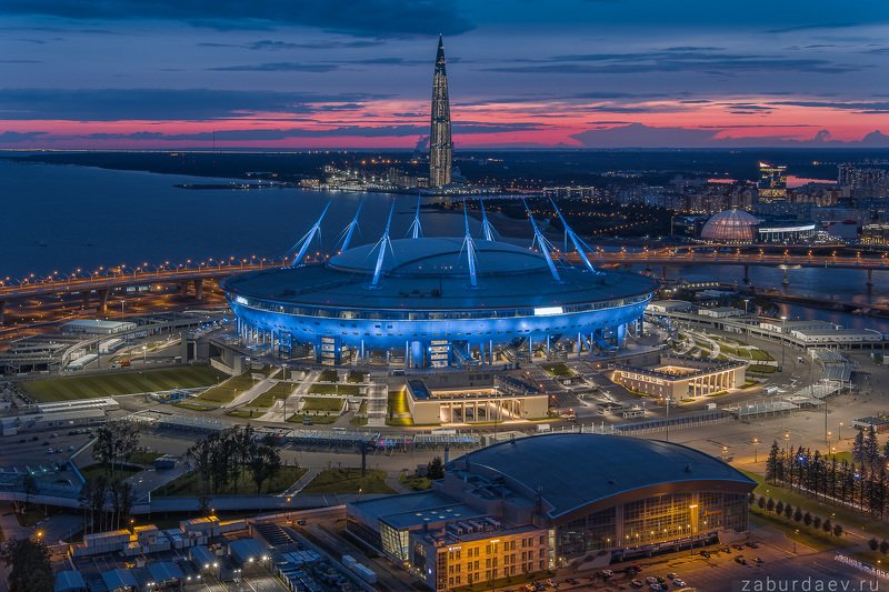россия, петербург, санкт-петербург, вечер, закат, город, архитектура, стадион, лето, дрон Газпром Аренаphoto preview