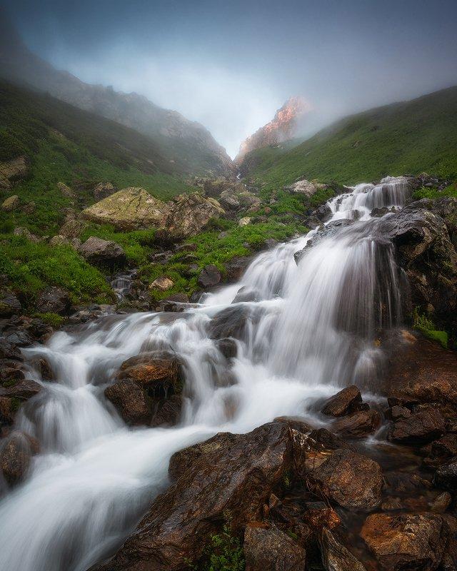 горная река, водопад, водоскат, горы, пейзаж, кавказ, архыз Кашха-Эчкичатphoto preview
