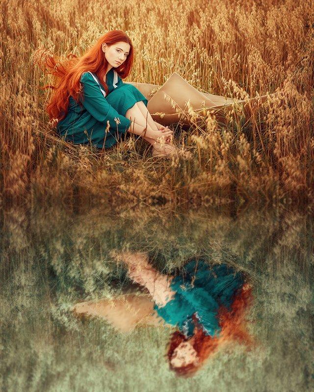 девушка, рыжеволосая, поле, лето, сказка, кораблик, портрет, portrait, field, outdoor, redhair, redhead, blue, summer, wheat photo preview