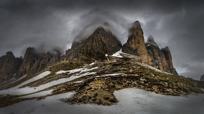landscape nature scenery spring snow ice clouds peak peaks clouds mountain panorama dolomiti пейзаж горы Troubled clouds, Tre Cime di Lavaredophoto preview