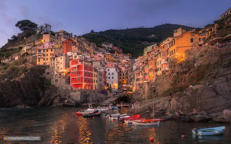 charming, riomaggiore, liguria, cinque-terre, italy, riviera, travel destinations, dusk, tranquil scene, sunset, sea, landscape, architecture, town, beach Charming Riomaggiorephoto preview
