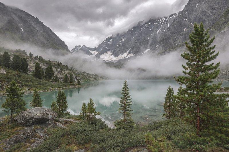 горы, облака, природа, алтай, рассвет, река, путешествие, россия, озеро Туманы озера Куйгукphoto preview