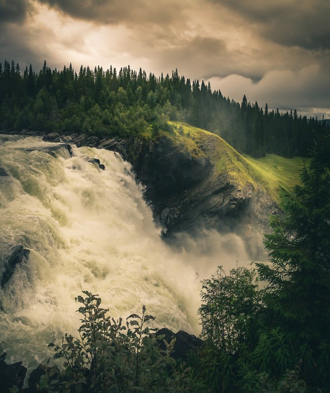 tannforsen,sweden,swedish,waterfall,falls,river,forest,mountains,rainy,water Force of naturephoto preview