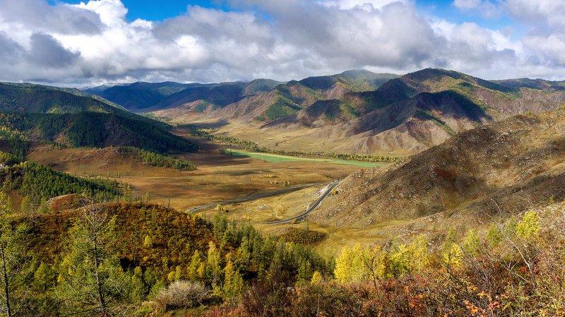 пейзаж, осень, горы, облака, Горный Алтай  Осенним днем. photo preview