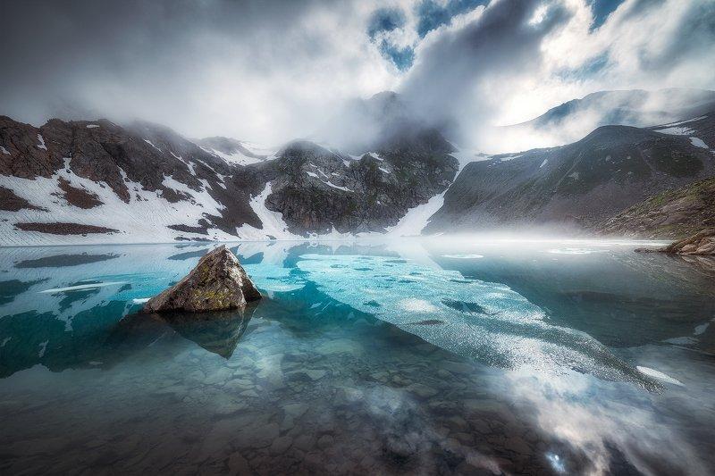 облака, горы, озеро, кавказ, архыз, софийские озера, пейзаж Летний сон Софийского озераphoto preview