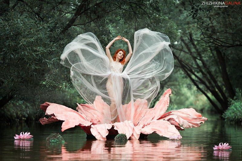 девушка, цветок, портрет, бабочка, ню, артню, природа, река, вода, кувшинка, nude, portrait, nu, girl, photo, Цветок на воде фото превью