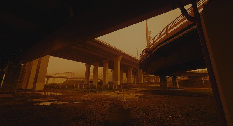 smoke, cinematic, color grade, bridge, road, buildings, sign, fog, foggy, yellow Smoky days, part 2, morningphoto preview