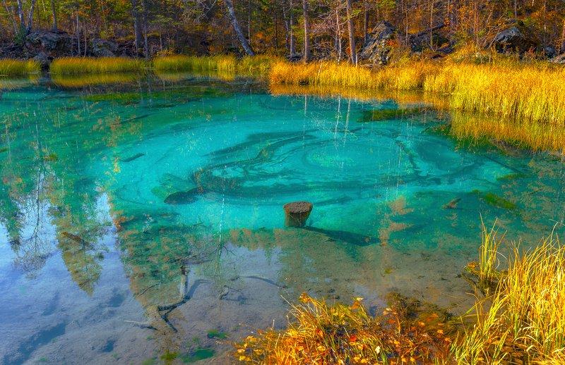горный алтай, осень, гейзеровое озеро Виден лик в бирюзеphoto preview