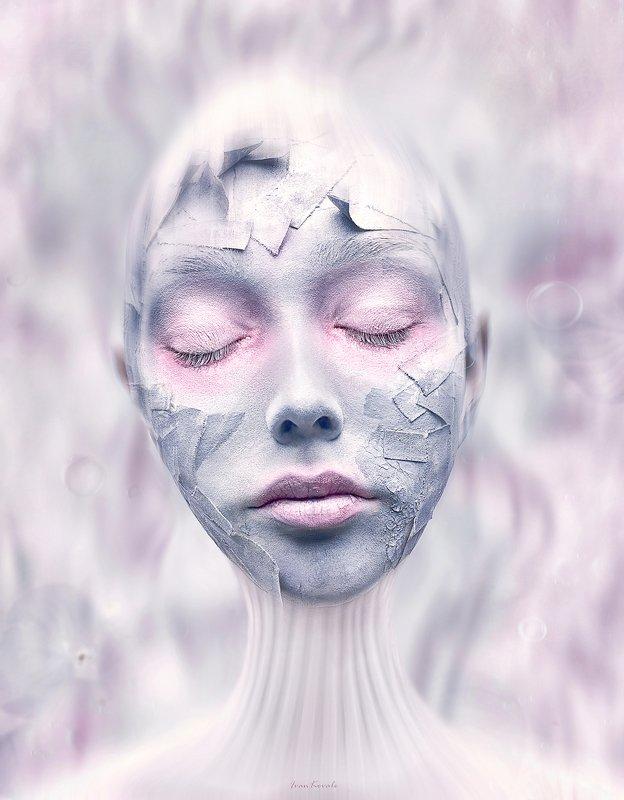 портрет, лицо, пластырь, девушка, болезнь, утро, избавление, свет, круги, скорлупа, пробужение Пробуждение фото превью