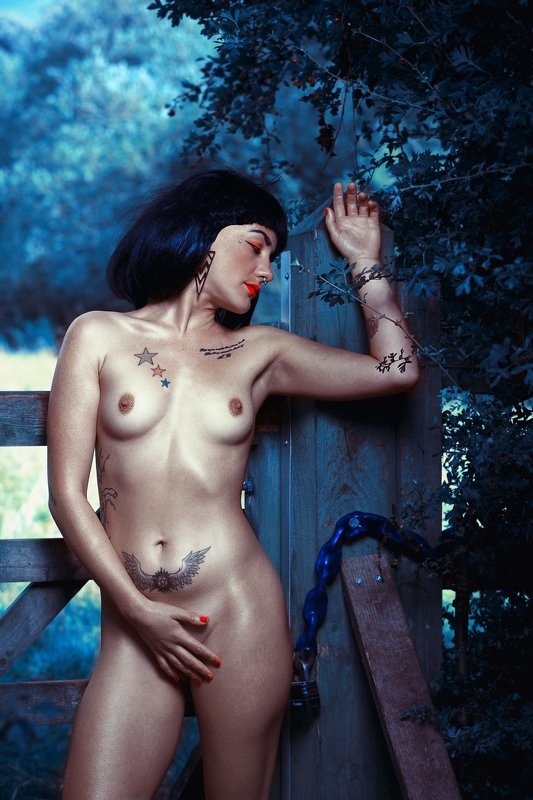 people , outdoors , day , standing ,bizarre , relaxation  ,art , beautiful ,woman, nude,  colorful , model , top , allegory, painting BLUEphoto preview