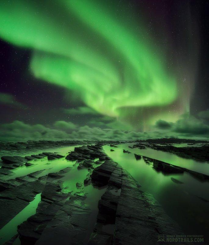 кольский, кольский полуостров, рыбачий, рыбачий полуостров, северное сияние, полярное сияние, север Зажигая небесаphoto preview