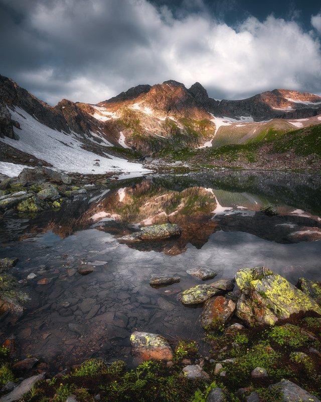 архыз, кавказ, софийские озера, горное озеро, отражение, горы, рассвет, пейзаж Софийский калейдоскопphoto preview