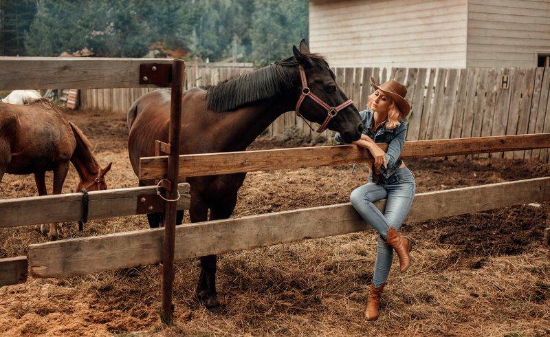 Лошади, девушка Кантриphoto preview