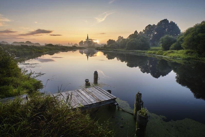 утро, река, рассвет, туман, дунилово, деревня Рассвет на Тезе фото превью