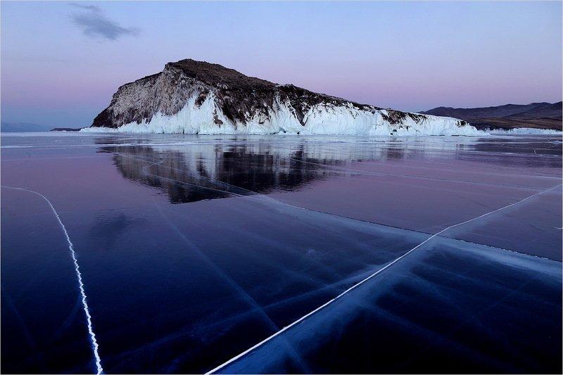 озеро, байкал, зима, лёд, февраль, холод, вечер, отражение, остров, трещины, остров , хубын, Остров Хубын.photo preview