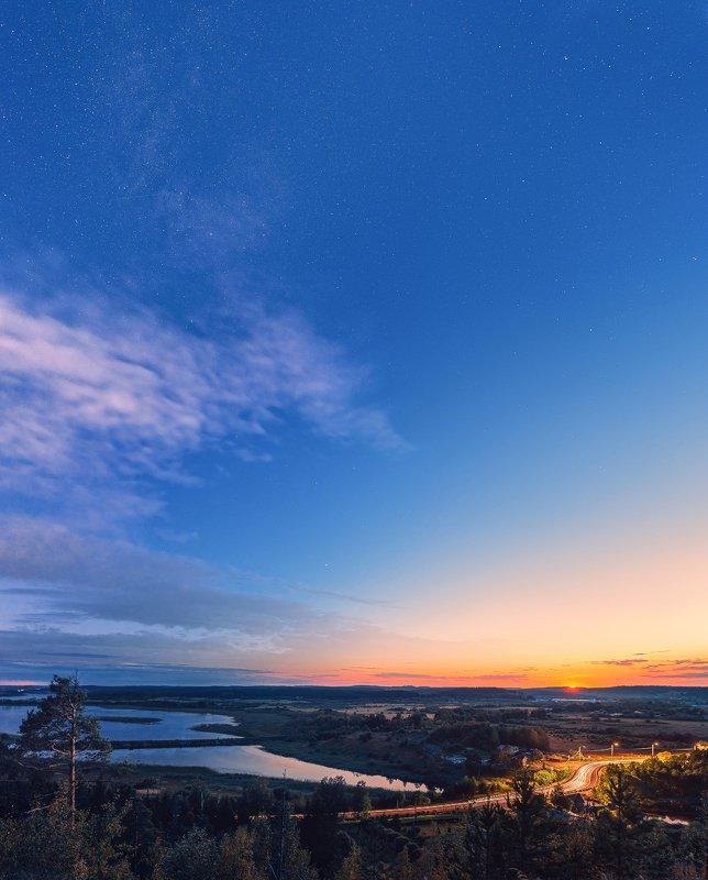 карелия, закат, звезды, небо, пейзаж, ночь, гора И опустилась ночьphoto preview