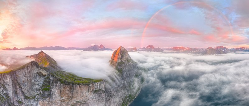 норвегия, сенья, senja, norway, рассвет, dawn, радуга, rainbow, segla, сегла Гора Сегла на рассветеphoto preview