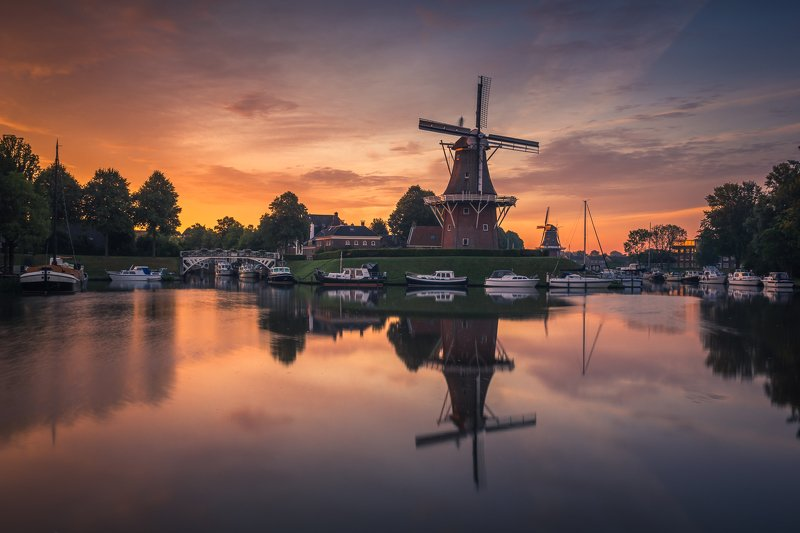 dokkum, netherlands, water, sunrise, sun, reflection, windmill, Dokkumphoto preview
