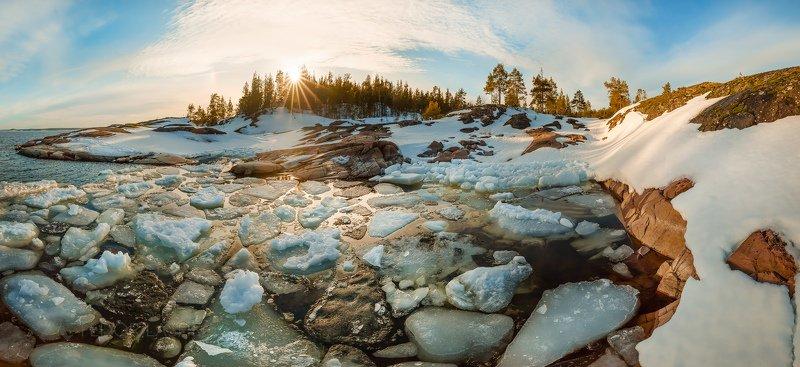ладожское озеро, карелия, шхеры, зима, весна, остров, гранит, закат, бухта, льдины, льдина, лёд, снег, Весна на Ладоге!photo preview