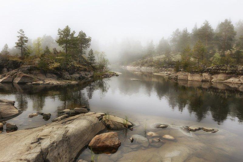карелия, ладожские шхеры, ладога, рассвет Туман над заливомphoto preview
