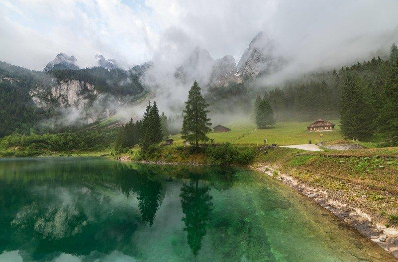австрия, озеро, горы, туман Gosauseephoto preview