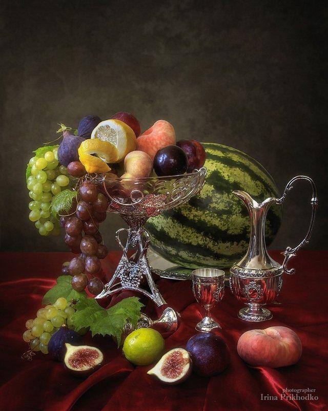 натюрморт, фрукты, винтажный, инжир, арбуз Натюрморт с инжиромphoto preview
