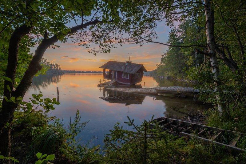 finland, sauna, tilt, sunset Drunken Sauna, Finlandphoto preview