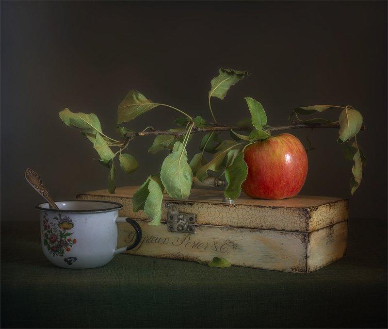 still life, натюрморт,    винтаж,    ретро, яблоко, еда, фрукт, ветка, кружка, ложка, посуда, шкатулка, натюрморт с яблоком и кружкойphoto preview