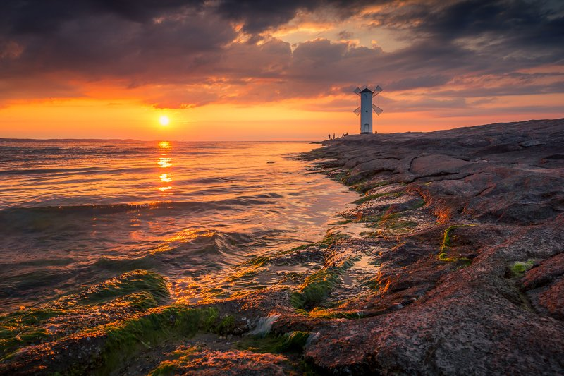 baltic, sea, water, waves, sunset, breakwaters, stawa, mlyny Sunsetphoto preview