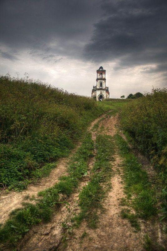 белая, церковь, путь, троицкий, храм, тучи |   Путь к храму   |photo preview