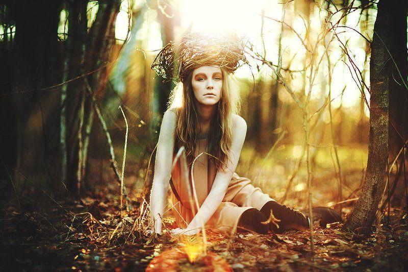 весна, пробуждаясь, портрет, гнездо, девушка se réveillerphoto preview