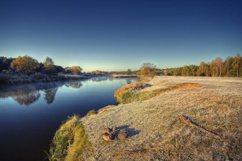 река, кострище, берег, утро, иней | Кострище/Красотище |photo preview